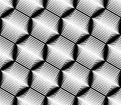 stock photo of zigzag  - Design seamless monochrome hexagon geometric pattern - JPG