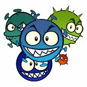 pic of maliciousness  - Group of cartoon malicious viruses isolated on white background - JPG