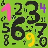 stock photo of math  - Hand drawn numbers and math symbols with inaccurate lines - JPG