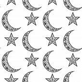 pic of crescent  - vintage black and white pattern for Eid Mubarak festival  - JPG