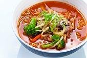 picture of korean  - Soup with noodles and vegetables  - JPG