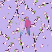 image of parrots  - Seamless pattern with two colourful parrot bird sitting on the flower apple twigs - JPG
