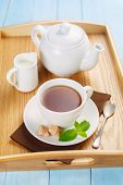 picture of mints  - Tea in a white cup with mint - JPG