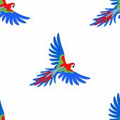picture of parrots  - Macaw parrot seamless pattern vector illustration isolated on white background - JPG