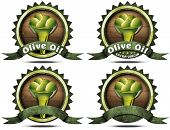 picture of virgin  - Collection of four labels icons or symbols with green olives and oil text Olive oil and Extra virgin - JPG