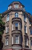 stock photo of art nouveau  - Turret and facade Art Nouveau building in Poznan - JPG