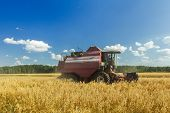 pic of combine  - Combine machine with reel and the cutter bar is harvesting oats on farm field - JPG