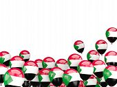 picture of sudan  - Flying balloons with flag of sudan isolated on white - JPG