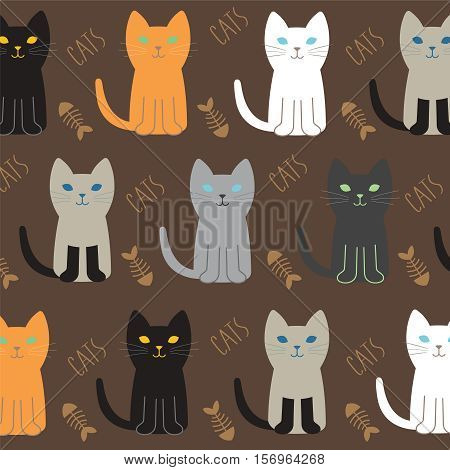 poster of Cat Breed Set with black cat white cat grey cat grey and white cat brown and black act brown cat. Vector Illustration Cartoon.