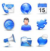 business icons set - mail, contact,calendar,callcenter,clock,globe,puzzle,news,search,chat