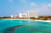 Постер, плакат: Aerial from Palm Beach on Aruba island in the Caribbean Sea
