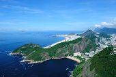Aerial view panorama landscape sea of Copacabana beach in Rio de Janeiro