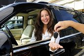 picture of car key  - businesswoman receiving keys of her new status car from dealer - JPG