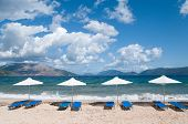 Beach at the Greek ionian island Kefalonia with parasols