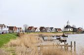 Small typical Dutch village near the coast