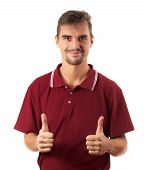 young man thumb up and smiling isolated on white