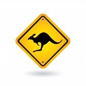 Yellow Sign With Kangaroo