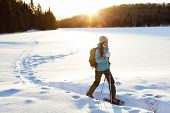 Winter sport activity. Woman hiker hiking with backpack and snowshoes snowshoeing on snow trail fore poster