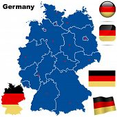 Germany vector set. Detailed country shape with region borders, flags and icons isolated on white ba