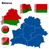 Belarus vector set. Detailed country shape with region borders, flags and icons isolated on white ba