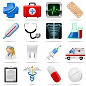 Medical icons and symbols vector set isolated on white.