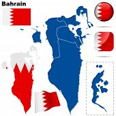 Bahrain vector set. Detailed country shape with region borders, flags and icons isolated on white ba