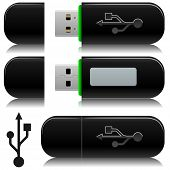 Portable usb flash  drive vector illustration with standard USB symbol.