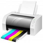 Papel de impresora de color moderna con CMYK color.