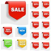 Sale labels set with variety of discounts.