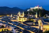 Salzburg Austria, Beautiful view of the historic city of Salzburger Land in Austria at night poster