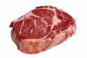 stock photo of ribeye steak  - A fresh cut of ribeye steak ready for the grill - JPG