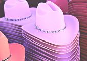 Cowboy And Cowgirl Hats Stacked Up
