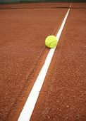 stock photo of deuce  - tennis ball on the court - JPG