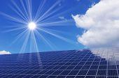 Sun over solar panel
