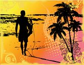 Vector image of a surfer walking down a coloful beach at sunset
