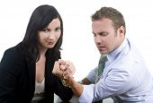 Business professionals arm wrestling - concept - battle of the sexes