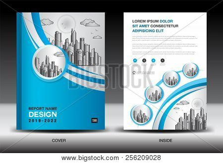 poster of Blue Cover Template With City Landscape, Annual Report Cover Design, Business Brochure Flyer Templat