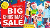 Christmas Sale Banner Vector. Big Sale Offer. Big Super Label. Illustration poster