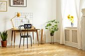 Spacious Home Office Interior With A Desk, Chair, Yellow Lamp, Plant And Sunflowers. Real Photo poster