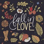 Cozy Fall Vector Illustration. Autumn Vector Lettering Card With Handdrawn Quotes And Cozy Doodle Fa poster