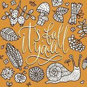 Cozy Fall Vector Illustration. Autumn Vector Lettering Card With Handdrawn Quote And Cozy Doodle Fal poster