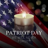Vector Banner Design Template With American Flag, Candle And Text On Dark Background For Patriot Day poster