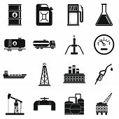 Oil Industry Items Icons Set. Simple Illustration Of 16 Oil Industry Items Icons For Web poster
