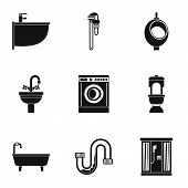 Sanitary Appliances Icons Set. Simple Illustration Of 9 Sanitary Appliances Icons For Web poster