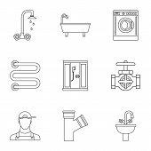 Sanitary Appliances Icons Set. Outline Illustration Of 9 Sanitary Appliances Icons For Web poster