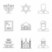 Spirituality Icons Set. Outline Illustration Of 9 Spirituality Icons For Web poster