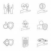 Assurance Icons Set. Outline Illustration Of 9 Assurance Icons For Web poster