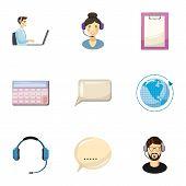 Technical Consultation Icons Set. Cartoon Illustration Of 9 Technical Consultation Icons For Web poster
