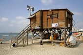 lifeguard watch hut coast tel aviv israel