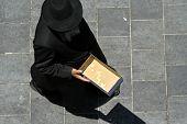 orthodox jew beggar, jerusalem, israel